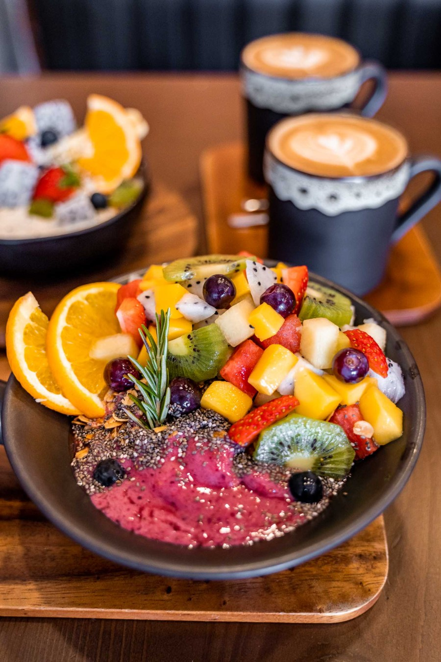 Smoothie bowl for breakfast at Interior at Ember Coffee & Eatery in Chiang Mai
