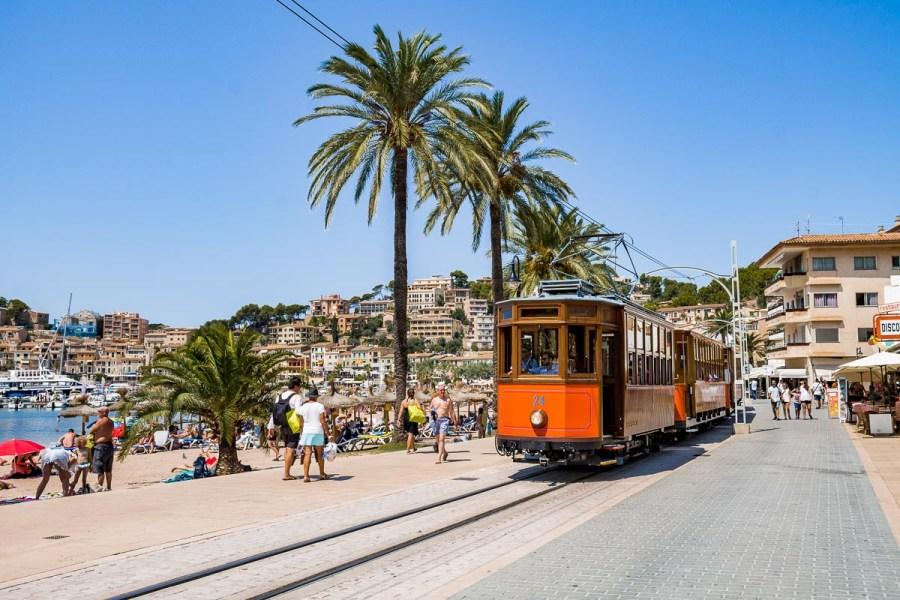 Orange vintage tram in Port de Soller, Mallorca