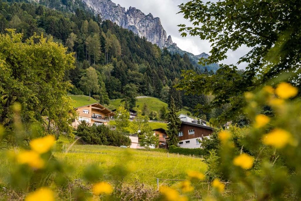 Alpine houses in Planken, Liechtenstein