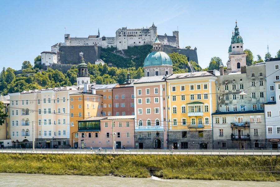 Colorful houses in Salzburg, Austria