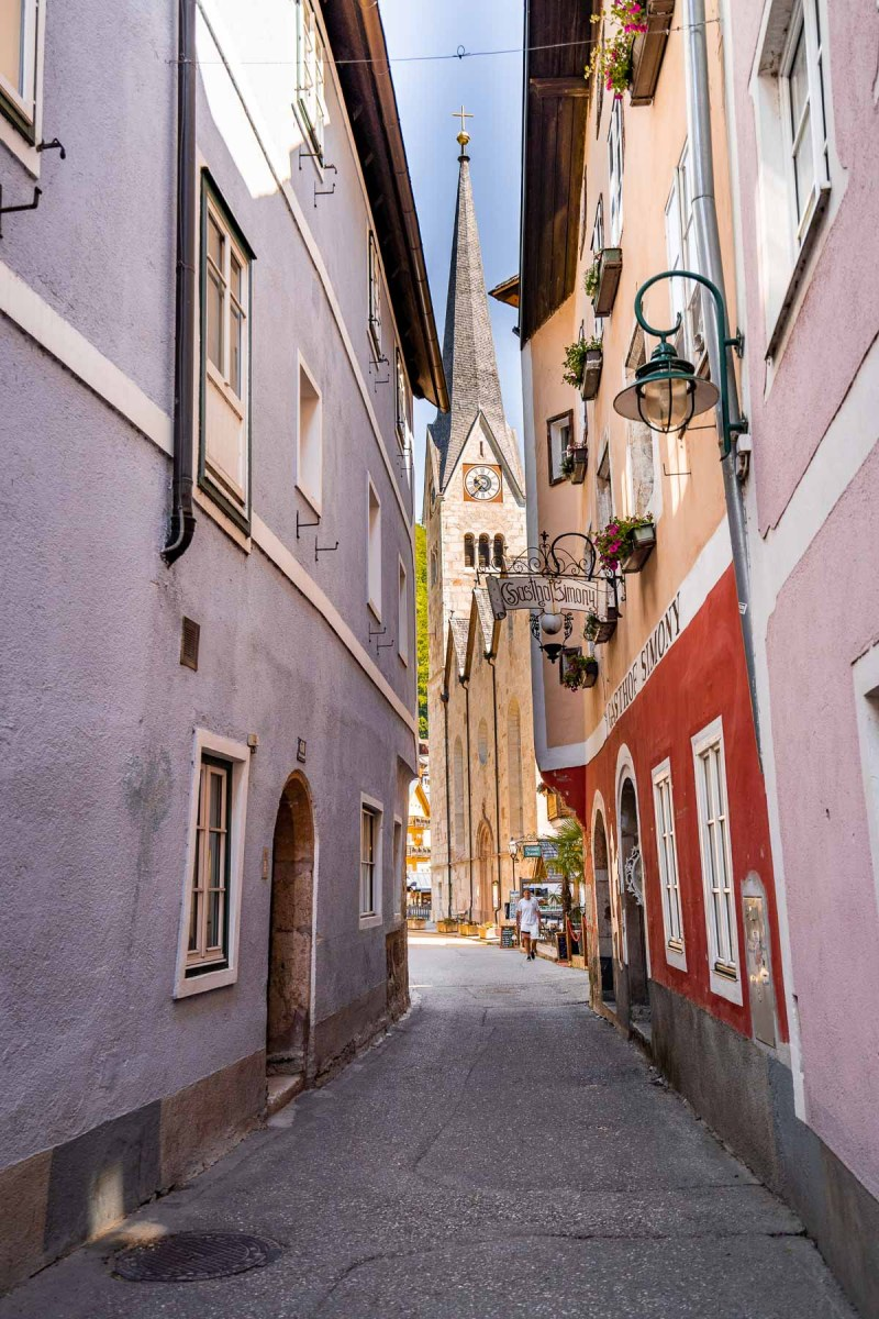 Colorful houses and the Evangelisches Pfarramt in Hallstatt