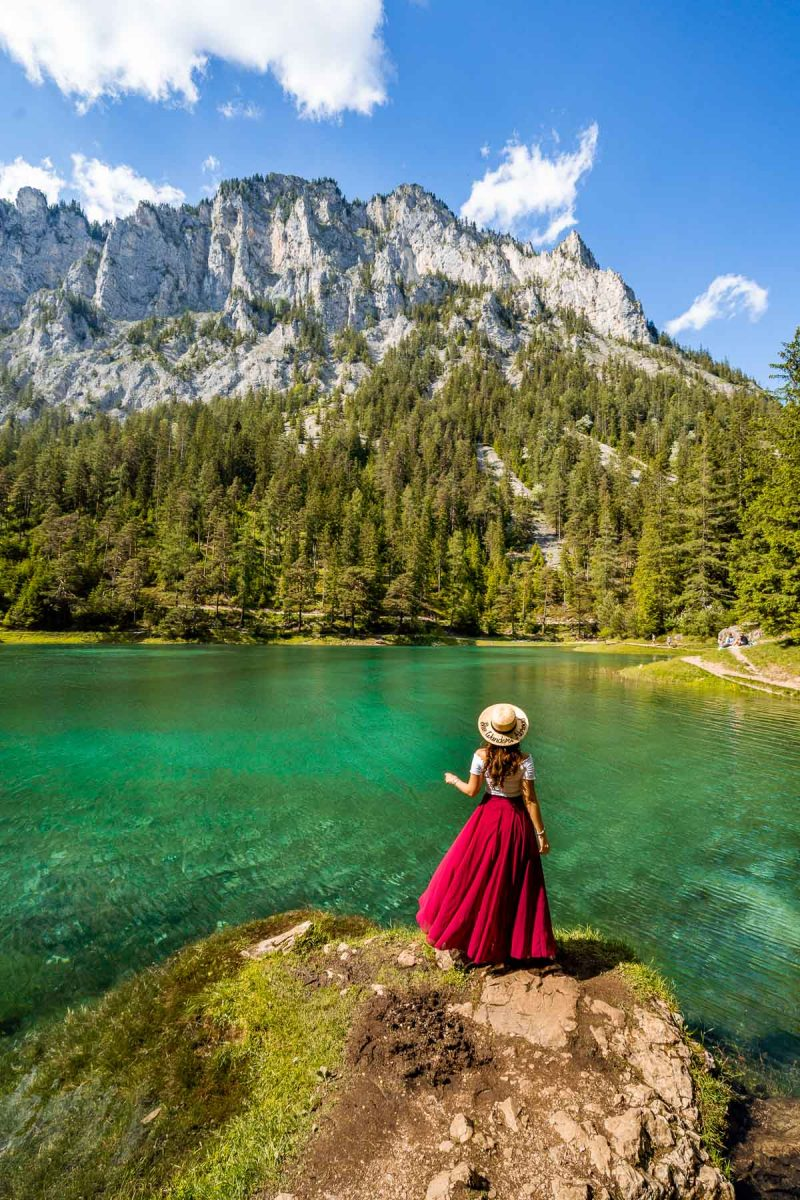 Girl in a red skirt in front of Grüner See, Austria