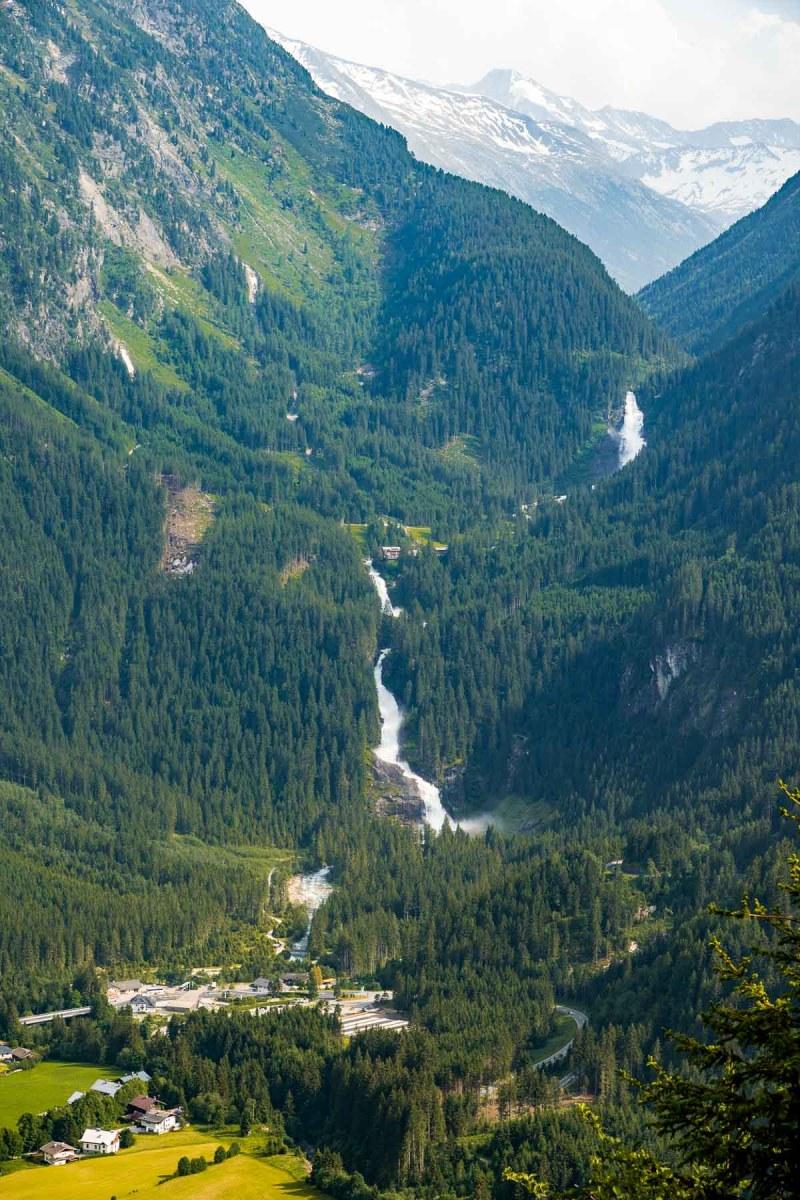 Aerial view of Krimml Waterfalls, Austria