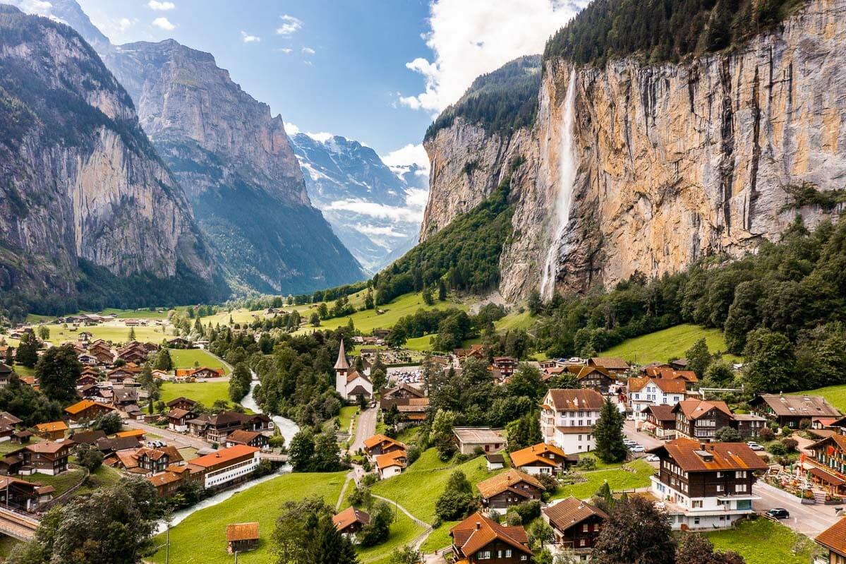 Panoramic view of Lauterbrunnen, Switzerland