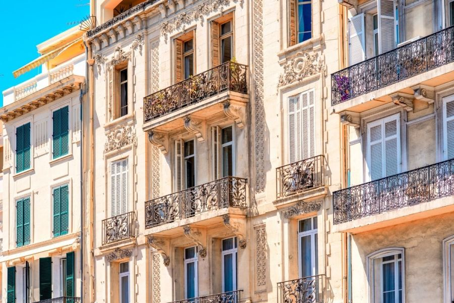Colorful houses in Cannes, France