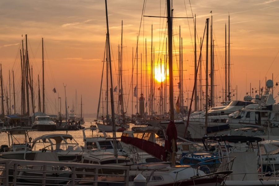 Sunset in the harbour of Saint-Tropez