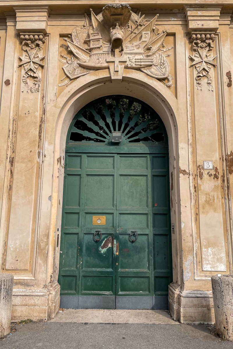 The door of the Aventine Keyhole in Rome, Italy