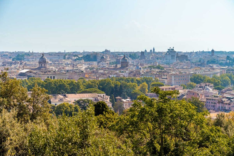 Panoramic view from Belvedere di Gianicolo in Rome, Italy