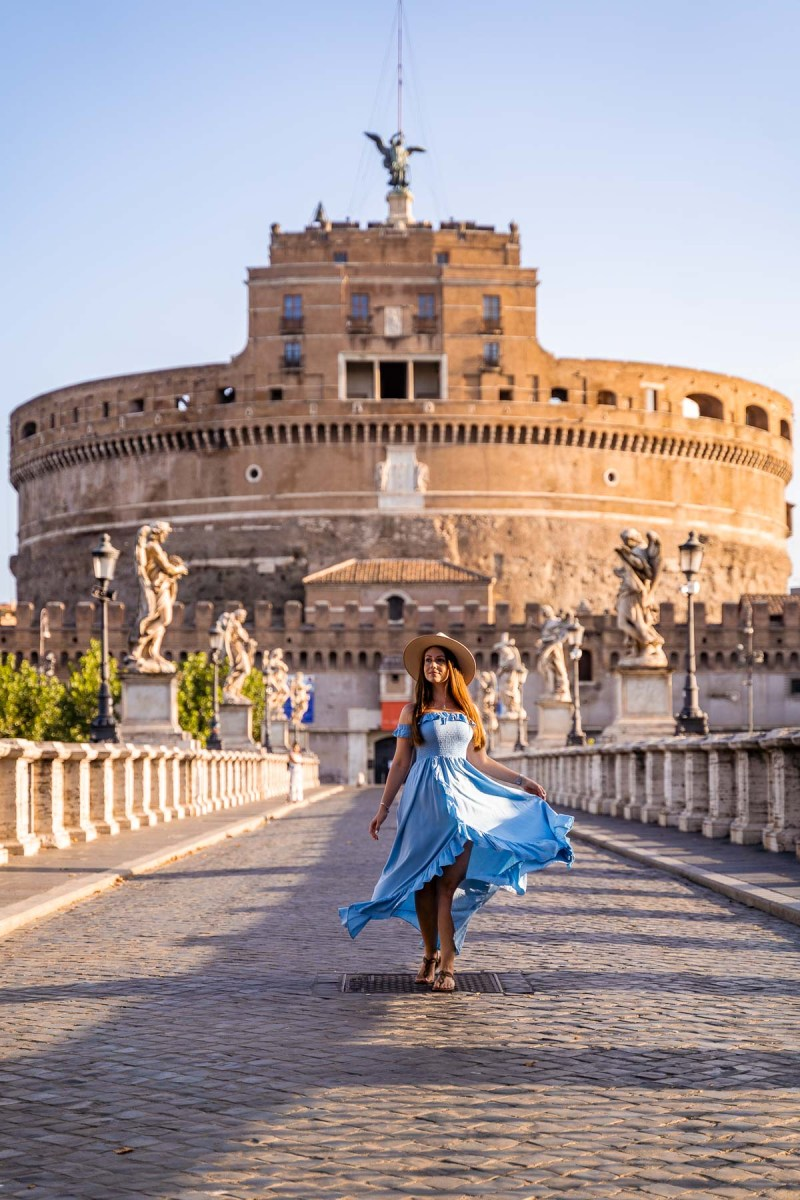 Castel Sant' Angelo with a girl in a blue dress