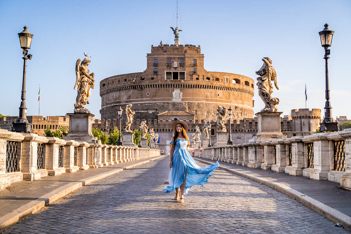 Girl in a blue dress in front of Castel Sant' Angelo, Rome