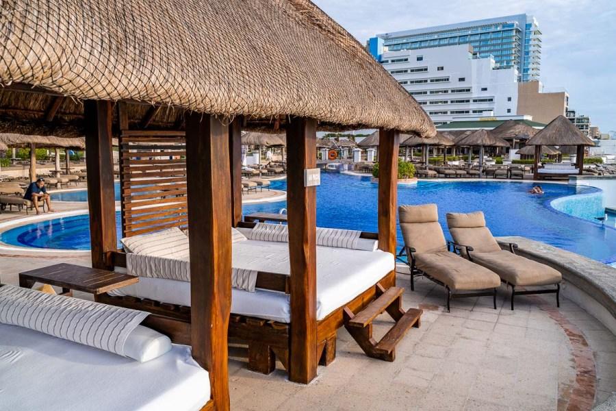Pool cabanas at JW Marriott Cancun