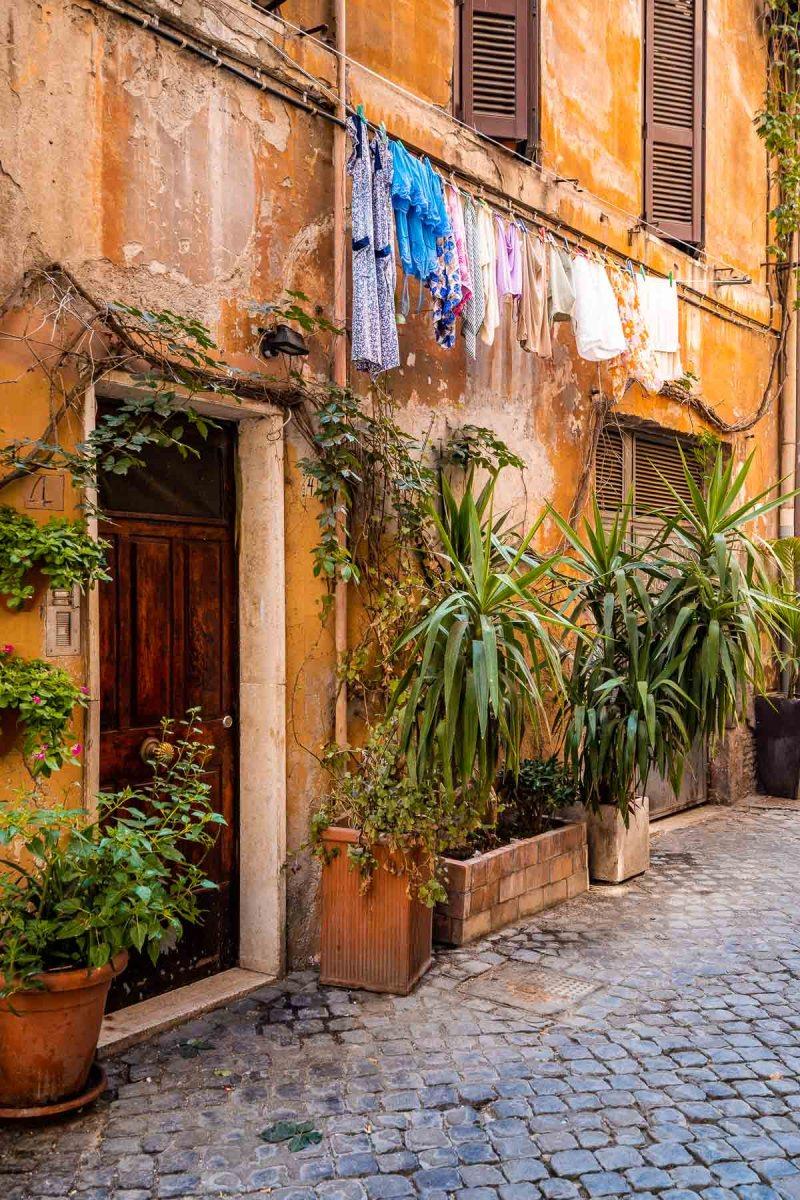 Cute corner in the Trastevere neighborhood in Rome, Italy