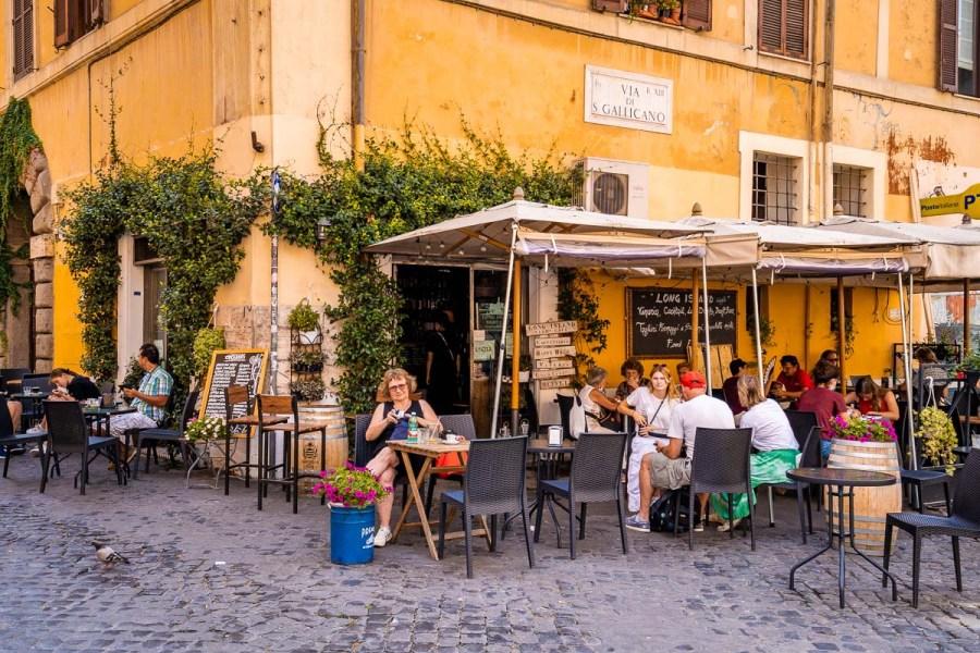 Restaurant in the Trastevere neighborhood in Rome, Italy