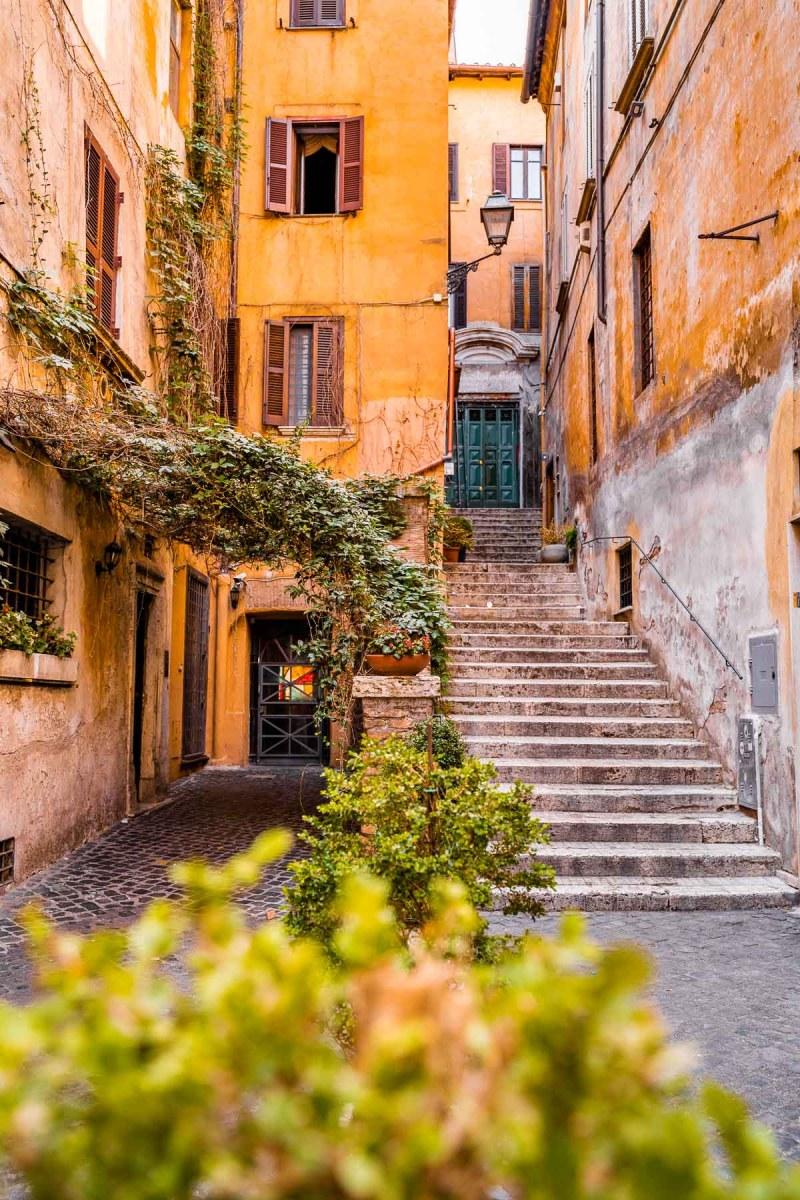 Picturesque corner in Via dei Coronari, Rome, Italy