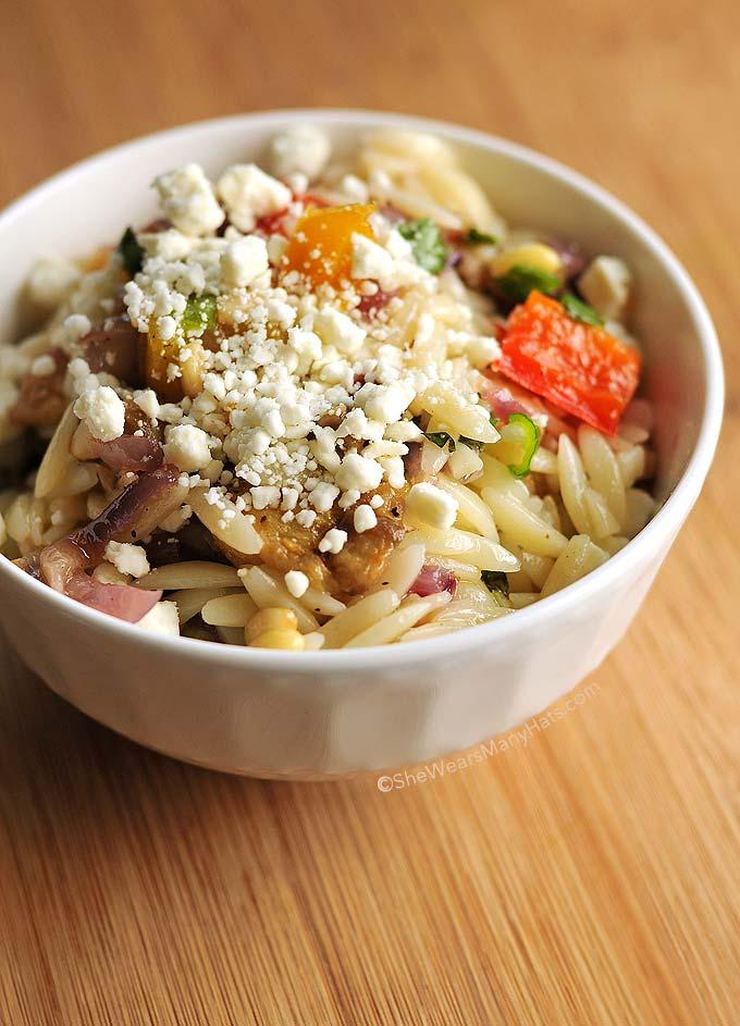 Roasted Vegetable Orzo Salad Recipe Roasted Vegetable Orzo Salad Recipe shewearsmanyhats.com
