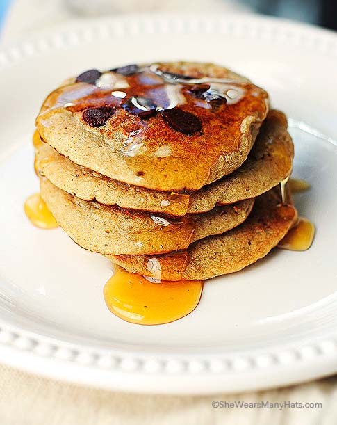 Oatmeal Banana Chocolate Chip Pancakes