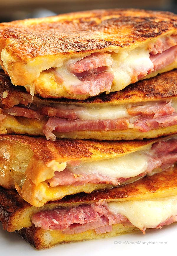 Monte Cristo sandwich cut and stacked