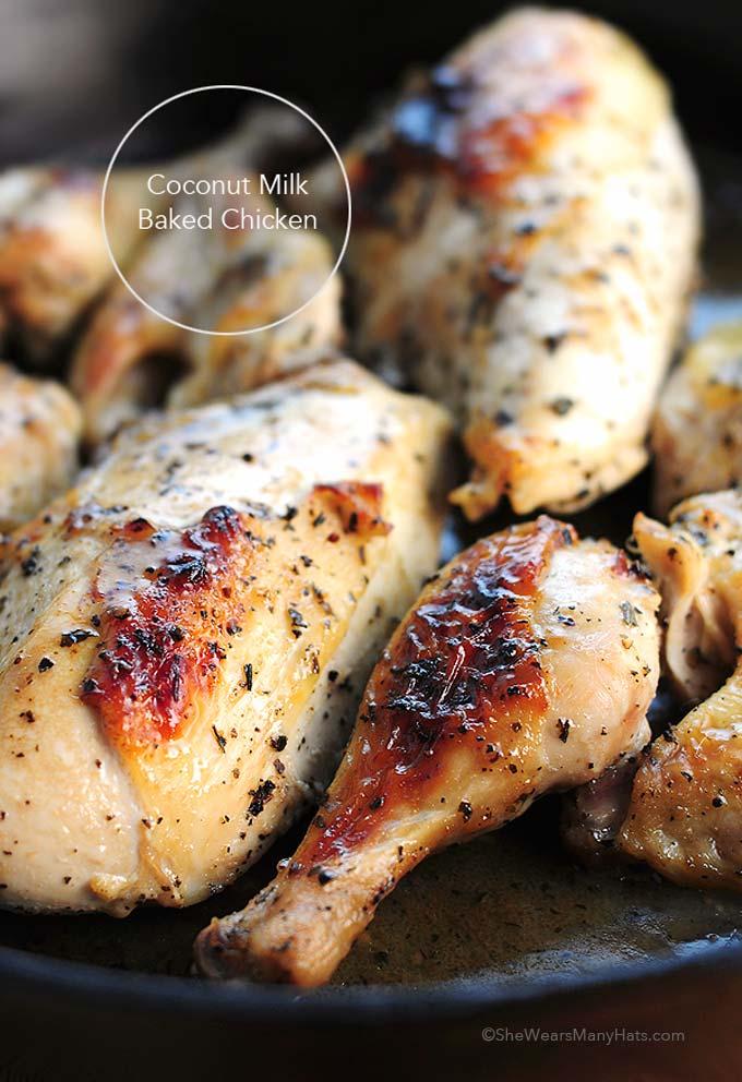 Easy Coconut Milk Baked Chicken Recipe | shewearsmanyhats.com