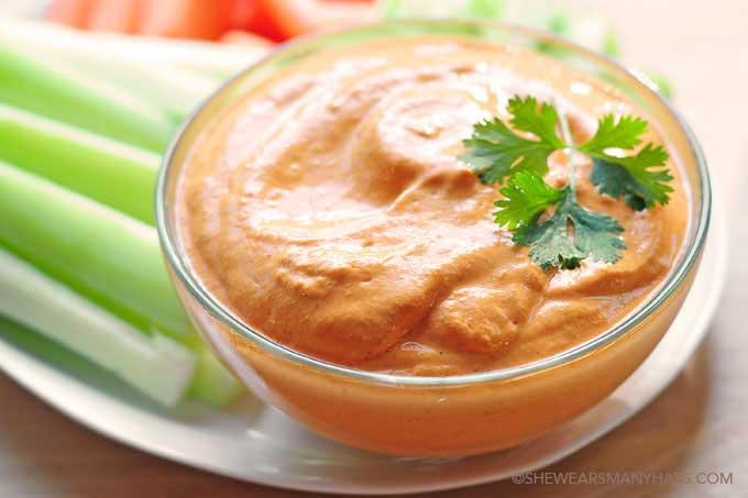 Easy Roasted Red Pepper Dip Recipe   shewearsmanyhats.com