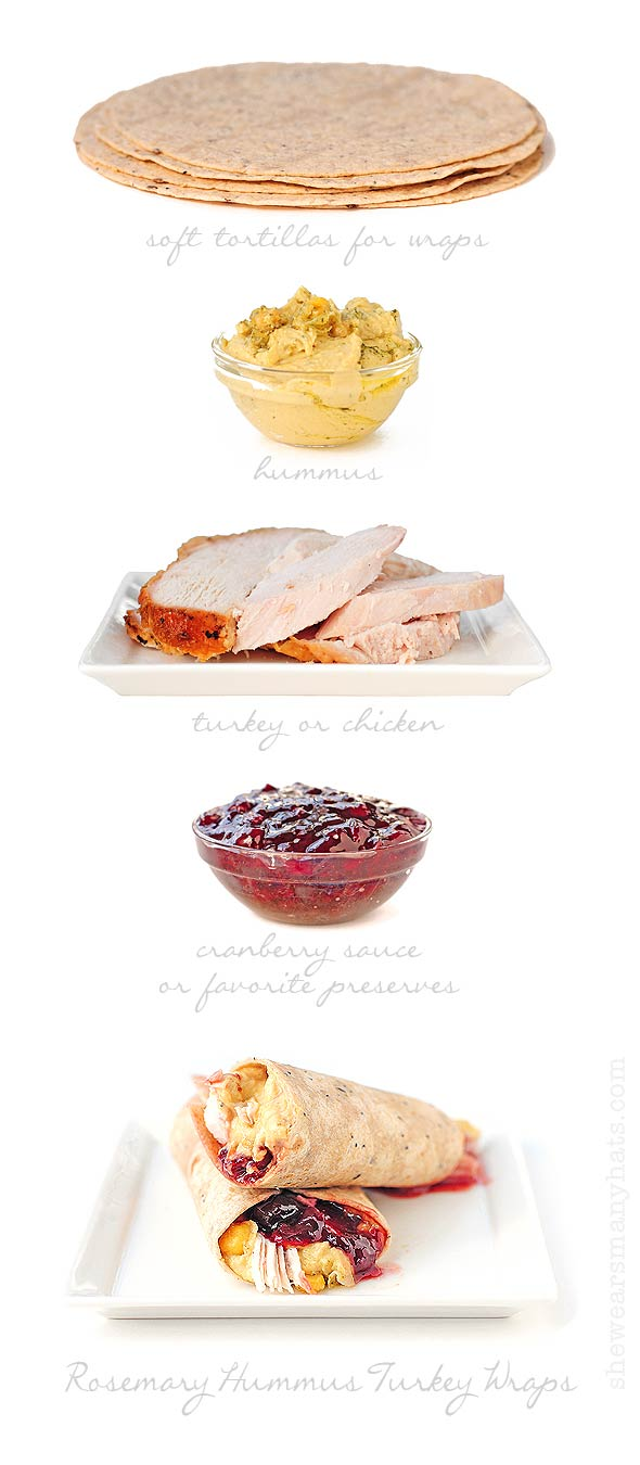 These Rosemary Hummus Cranberry Turkey Wraps are like Thanksgiving dinner all wrapped up in a tasty little package.