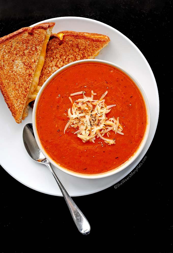Quick and Easy Tomato Soup Recipe   shewearsmanyhats.com