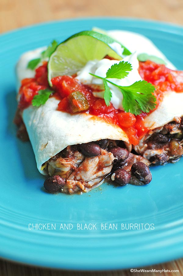 Delicious Easy Chicken and Black Bean Burritos are a tasty choice for a quick lunch or dinner. They're quick to make too!