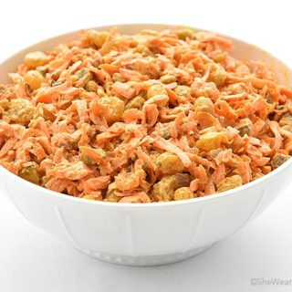 Spicy Ginger Carrot Salad Recipe with Raisins and Pistachios   shewearsmanyhats.com