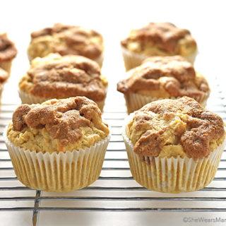 Apple Cinnamon Muffins Recipe with a Cinnamon Crunch Topping shewearsmanyhats.com