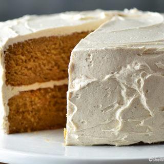 sweet potato cake on a white cake board