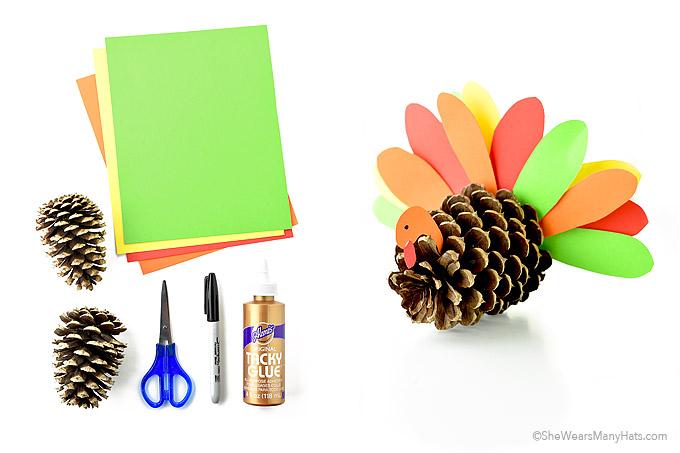 Thanksgiving Pine Cone Turkey Craft Ideas