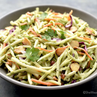 Broccoli Slaw Recipe with ginger and toasted almonds | shewearsmanyhats.com