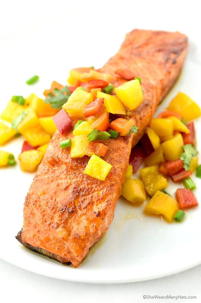 Sweet and Spicy Glazed Salmon Recipe   shewearsmanyhats.com