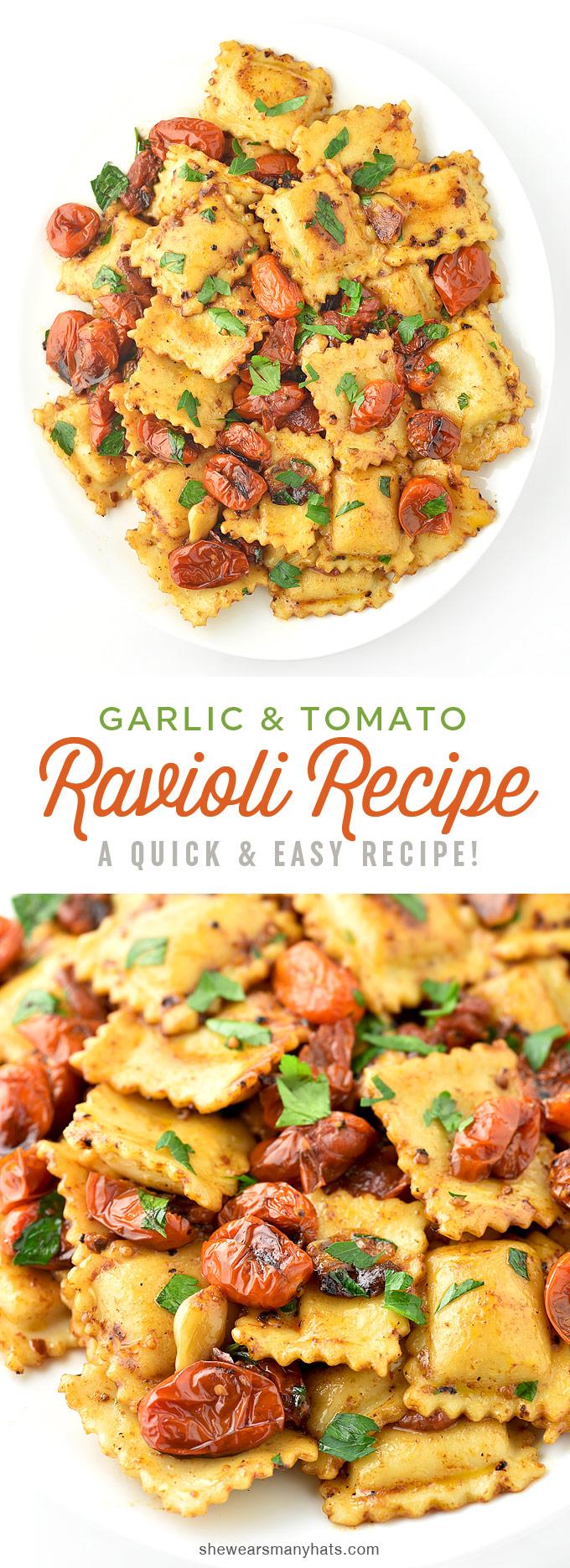 easy-spicy-garlic-tomato-ravioli-recipe-collage