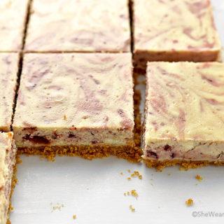 Slow-Roasted Balsamic Strawberry Cheesecake Bars Recipe | shewearsmanyhats.com