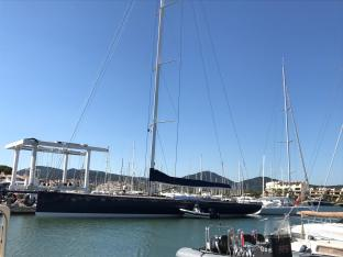 A beautiful sailing yacht, moored in Cogolin