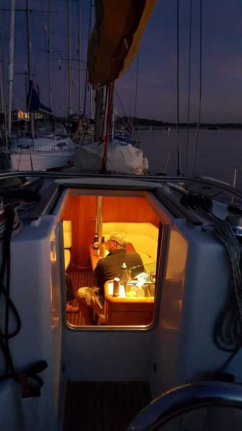 Reflecting onboard at the end of a days sailing
