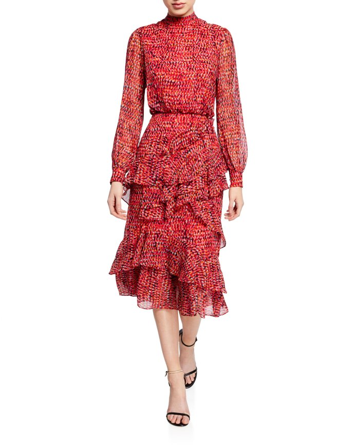 Saloni  Isa Mock-Neck Floral-Print Silk Midi Dress pretty and professional option to wear to work