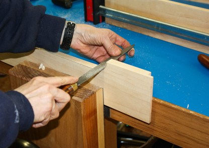A rasp was used to shape curves and finally 220 sand paper.