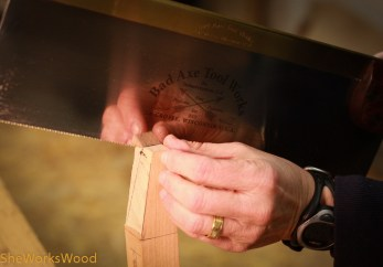 Sawing the bevels.