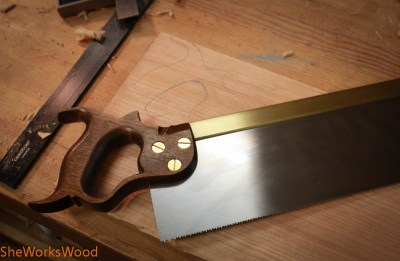 Then I used my favorite saw handle to lay out the handle.