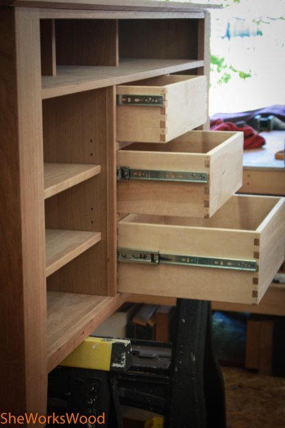 Drawers installed with guides.
