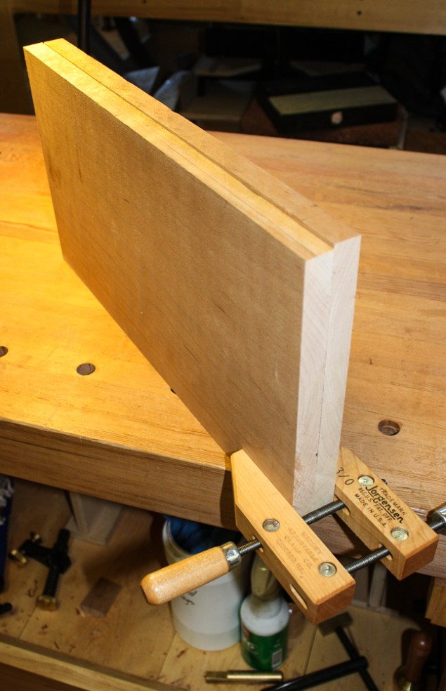 """I jointed two 10"""" wide pieces of cherry together to ensure a tight joint."""