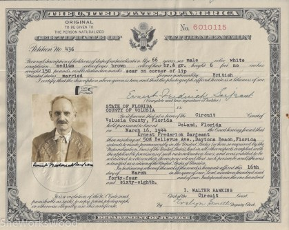 E. Sarjeant's Immigration papers.