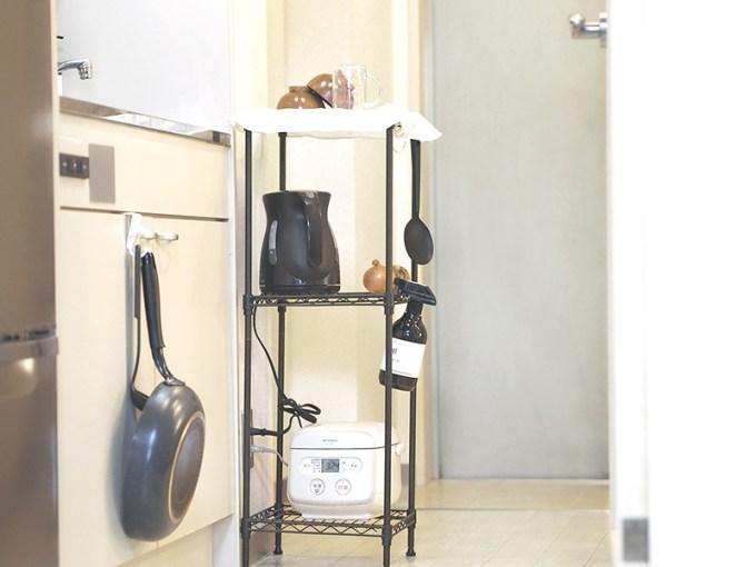 一人暮らし 炊飯器 置き場,炊飯器 置き場所 1K,炊飯器 棚 スリム,台所 狭い 炊飯器
