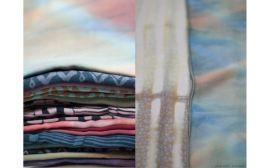 Selection of Scarves, Various Sizes, Tencel, Shibori, Silk Screen, 2013/14 Photo cred: Katie Tower
