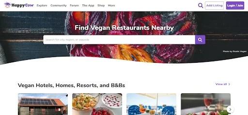 a screenshot of Happy Cow vegan website