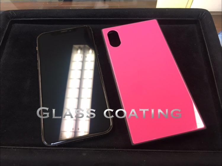 iPhoneXSとケースをガラスコーティング