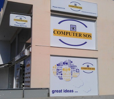 Computer SOS Signage by Shields