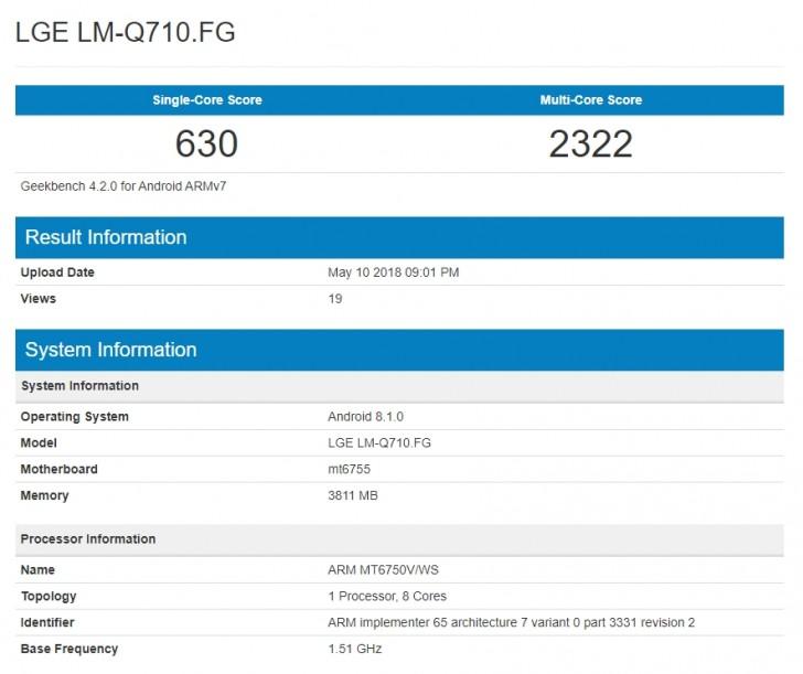 LG Q7 Geekbench testi skoru