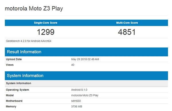 Moto Z3 Play Geekbench